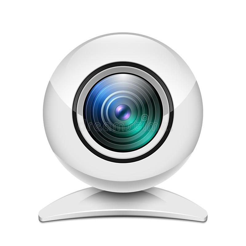 Realistyczna biała sieci kamery ikona na białym tle royalty ilustracja