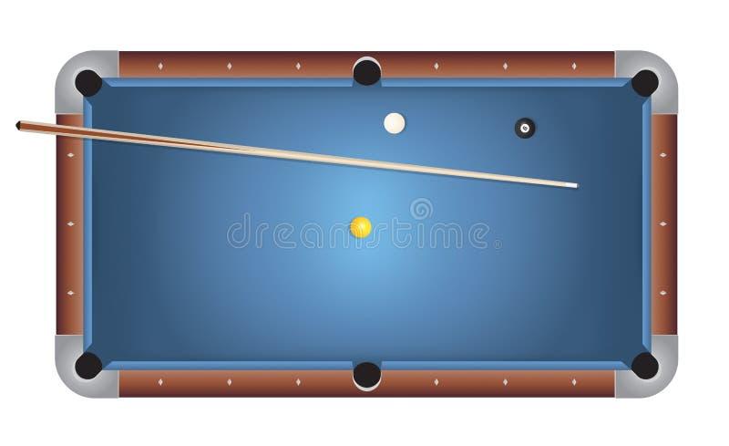 Realistyczna Billiards basenu stołu Błękitna Odczuwana ilustracja royalty ilustracja