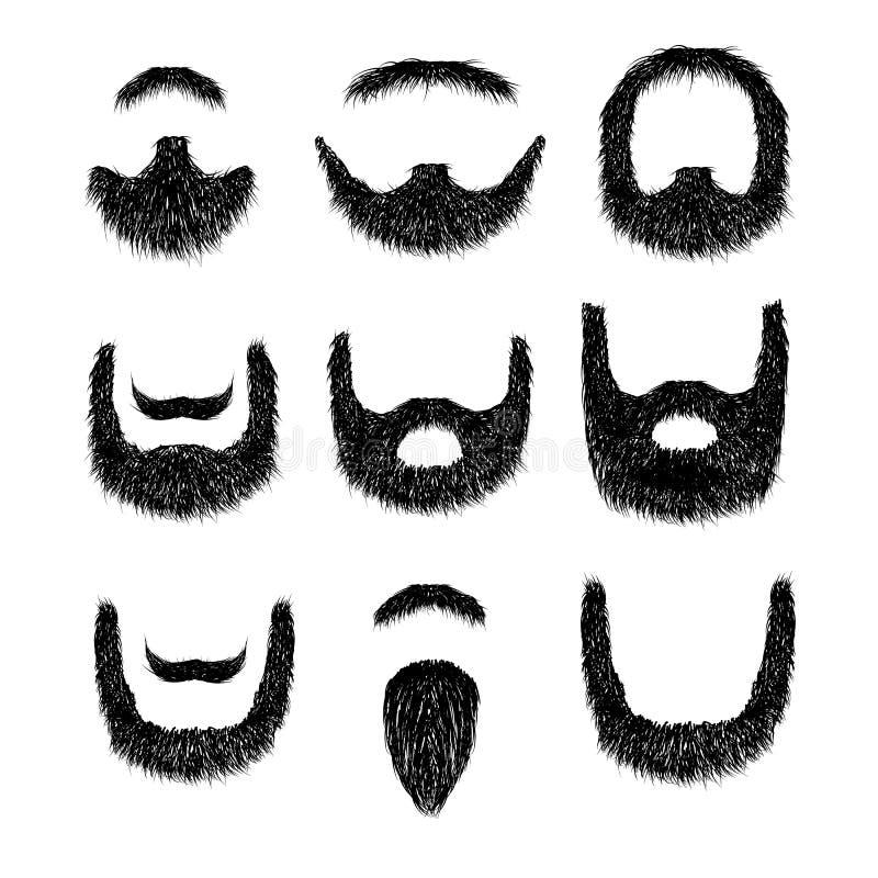 Realistyczna broda ustawiająca odizolowywającą na białym tle ilustracja wektor