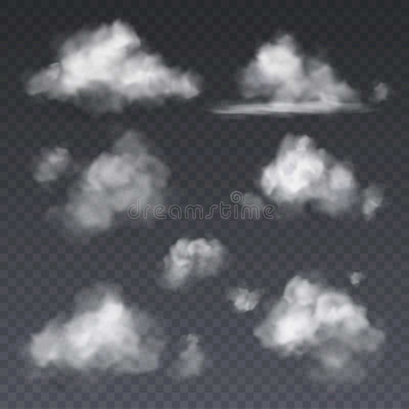 Realistyczna chmura Białych chmur nieba mgły puszysta rama odizolowywająca na przejrzystym tło wektoru secie royalty ilustracja