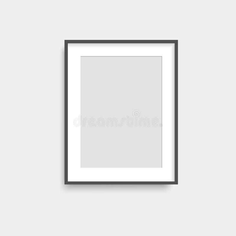 Realistyczna czarnego kwadrata fotografii rama na popielatej ścianie wektor royalty ilustracja