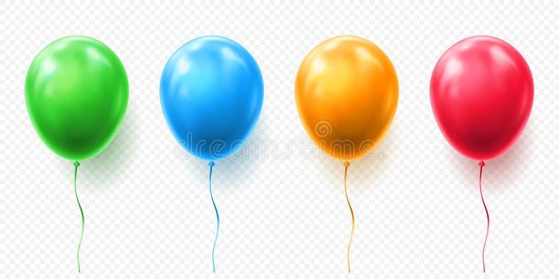 Realistyczna czerwieni, pomarańcze, zieleni i błękita balonowa wektorowa ilustracja na przejrzystym tle, Balony dla urodziny royalty ilustracja