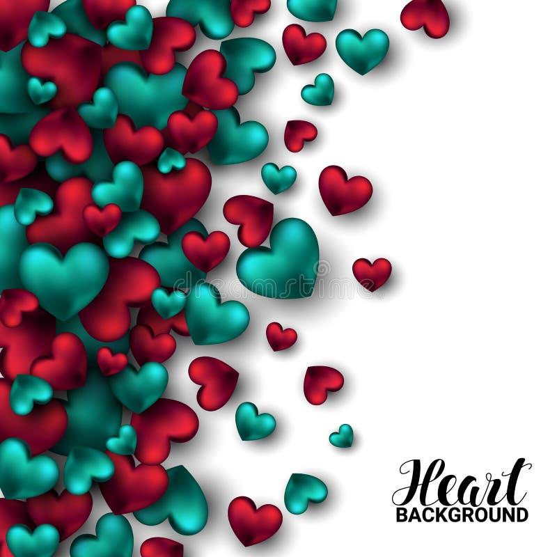 Realistyczna 3D Kolorowa rewolucjonistka i turkusowa Romantyczna walentynek serc walentynek miłość tła kwiatów świeży ilustracyjn royalty ilustracja