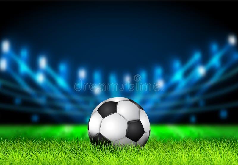 Realistyczna 3D piłki nożnej piłka na trawy boisku piłkarskim z jaskrawym stadium zaświeca Futbolowa arena Wektorowa ilustracja d ilustracji