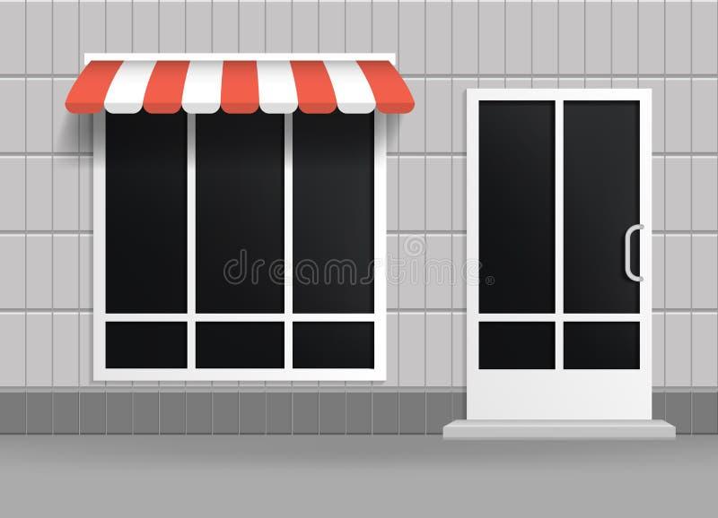 Realistyczna 3d sklepu budynku Szczegółowa fasada wektor ilustracja wektor