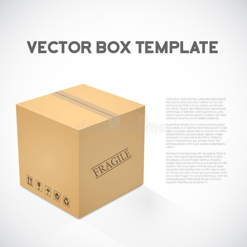 Realistyczna 3D sześcianu ładunku wysyłki przyrządu pudełka Wektorowa ikona ilustracja wektor