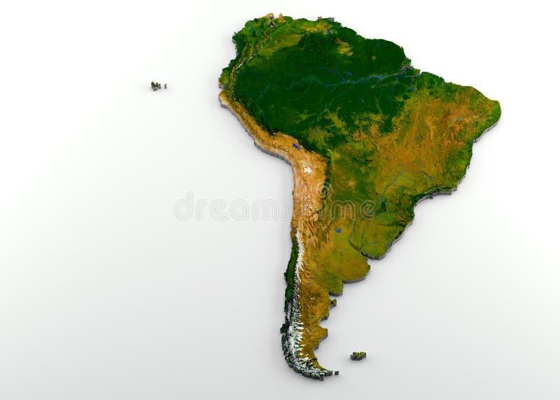 Realistyczna 3D Wyrzucona mapa Ameryka Południowa z ulgą royalty ilustracja