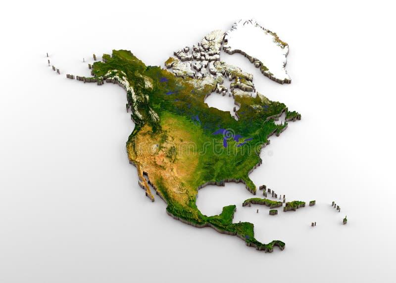 Realistyczna 3D Wyrzucona mapa Północna Ameryka & x28; Północnoamerykański kontynent wliczając Środkowego America& x29; , z ulgą ilustracja wektor