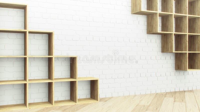 Realistyczna drewniana półki ściana z cegieł dla dekoracja projekta Sklepu pokaz 3d odpłacają się rocznika wzór kolorowego szczeg ilustracji