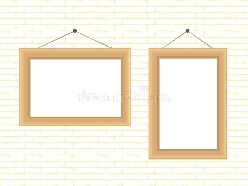 Realistyczna drewniana rama dla fotografii lub obrazów wiesza na ceglanej biel ścianie ilustracji