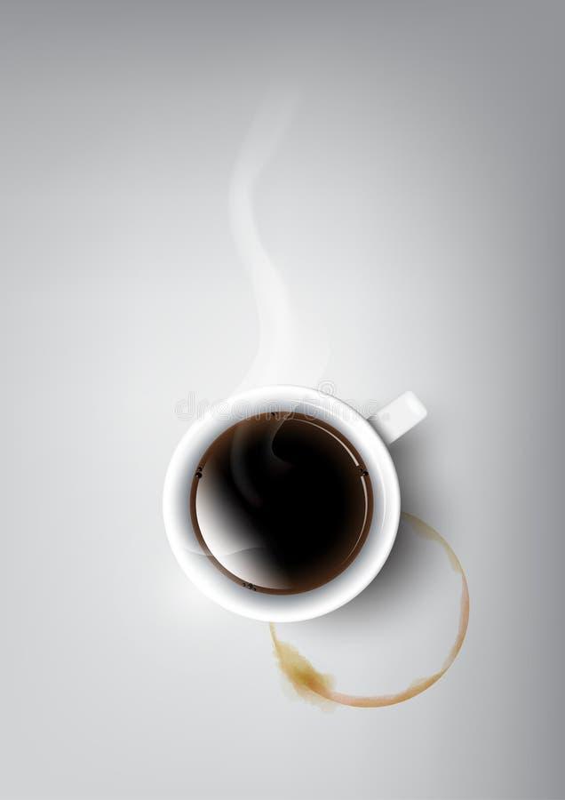 Realistyczna filiżanka czarnej kawy i filiżanki plama, przejrzysty wektor ilustracji