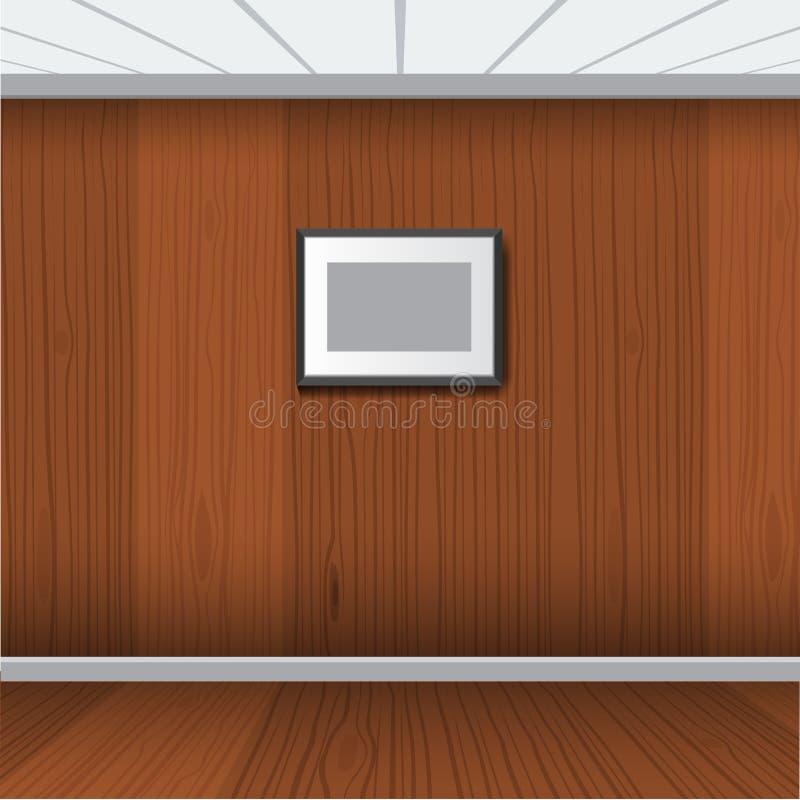 Realistyczna fotografii rama z drewnianym wewnętrznym pokojem również zwrócić corel ilustracji wektora royalty ilustracja