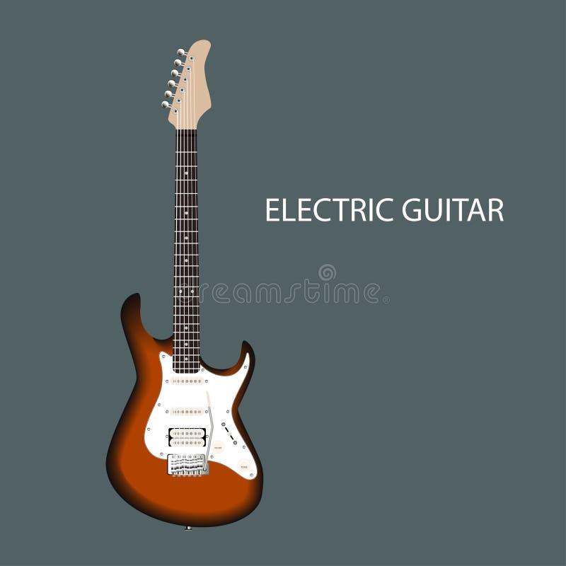 Realistyczna gitara elektryczna EPS10 wektorowa ilustracja ilustracja wektor