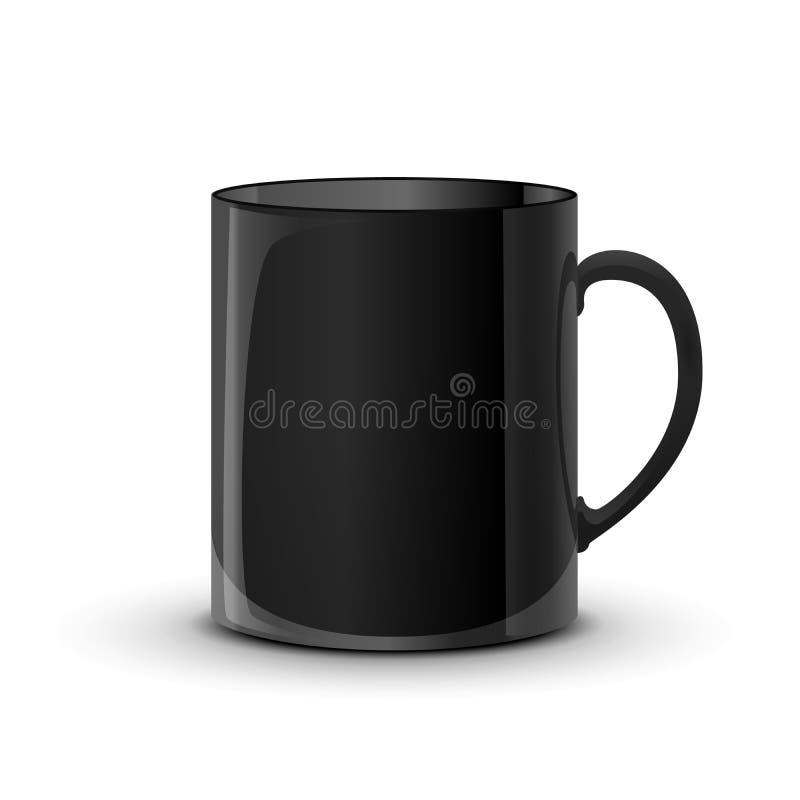 Realistyczna glansowana czarna filiżanka z cieniem na bielu ilustracji