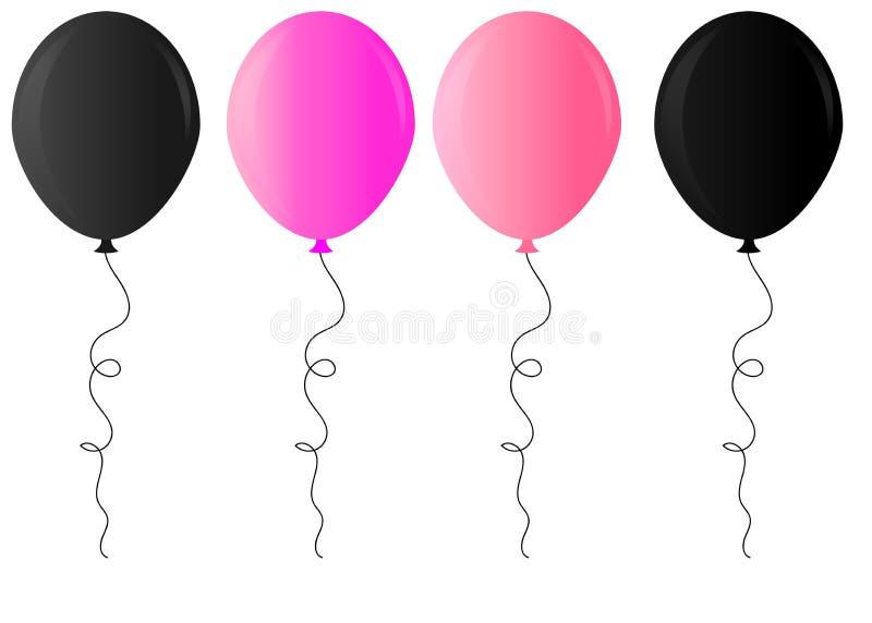Realistyczna glansowana z?ota, purpurowa, czarny i bia?y balonowa wektorowa ilustracja na przejrzystym tle, Balony dla urodziny,  ilustracja wektor