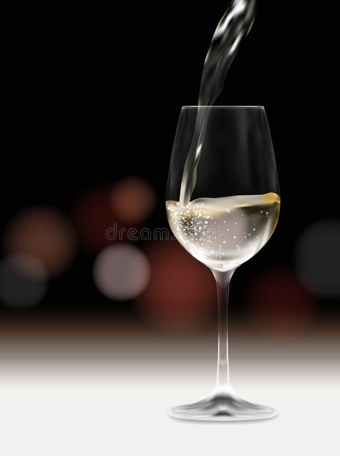 Realistyczna ilustracja białego wina lub szampana dolewanie w szkle na stole z zamazanym tłem - przyjęcia lub wydarzenia zaprosze ilustracja wektor