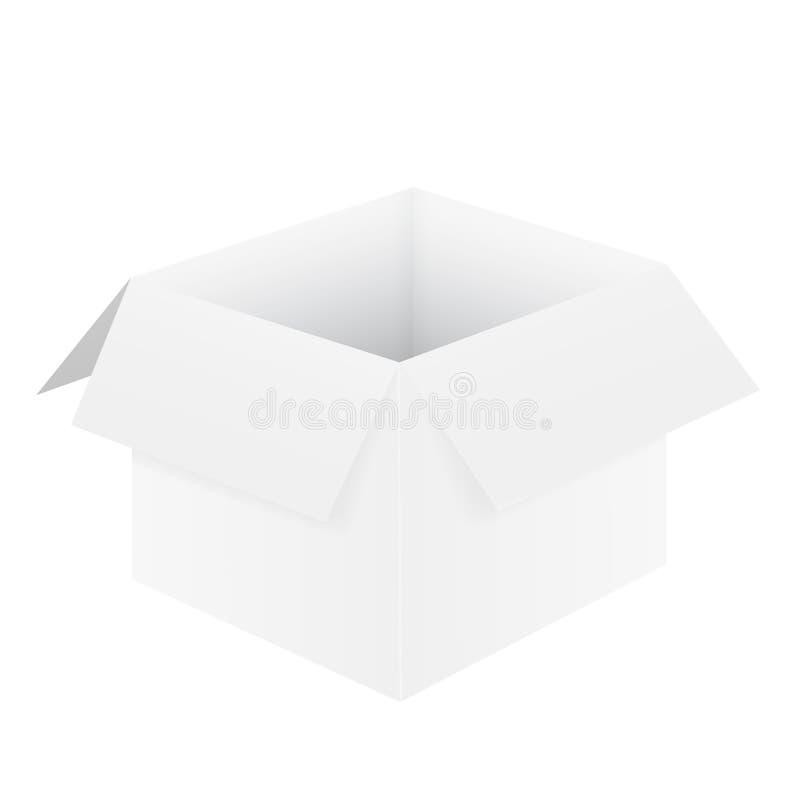 Realistyczna ilustracja bielu pusty otwarty karton, isolat royalty ilustracja
