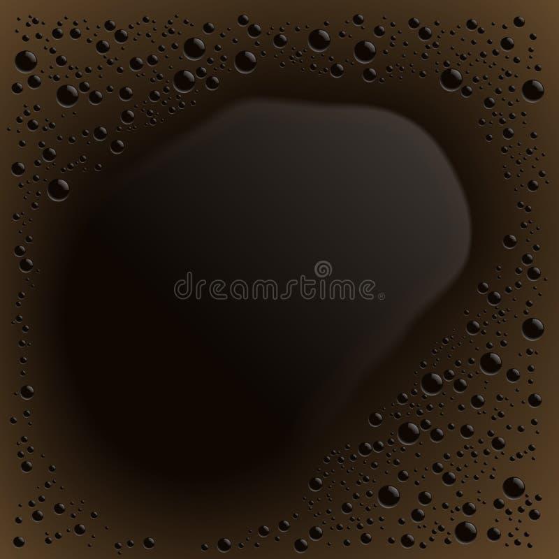 Realistyczna ilustracja czarnej kawy powierzchni tekstura z pianą lub creme Przestrzeń dla twój teksta z odbiciem, wektor royalty ilustracja