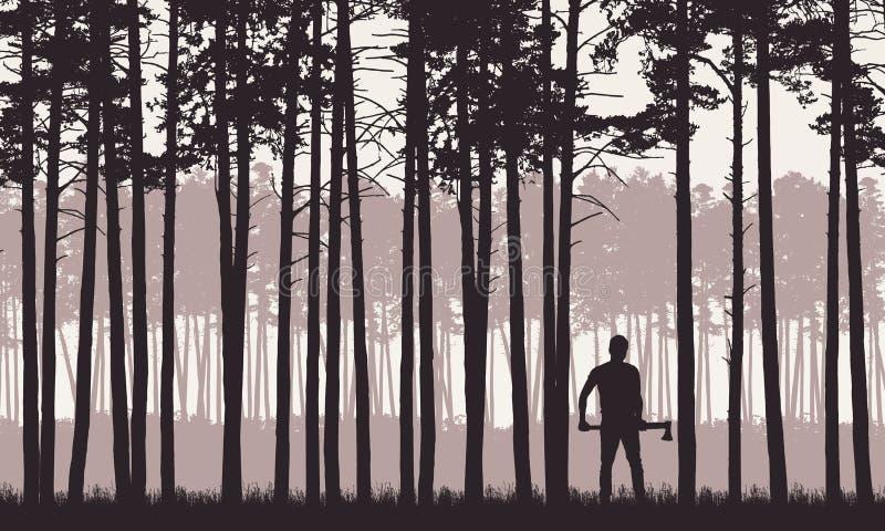 Realistyczna ilustracja krajobraz z iglastym lasem z sosnami pod retro niebem Mężczyzna z ax lub lumberjack stojakami wewnątrz ilustracja wektor