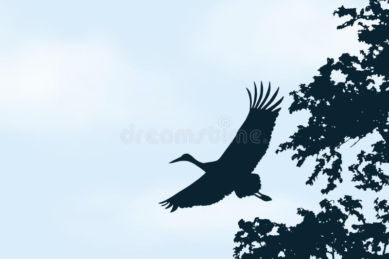Realistyczna ilustracja niebieskie niebo z biel chmurami i przestrzeń dla teksta Latający bocian, wektor ilustracja wektor