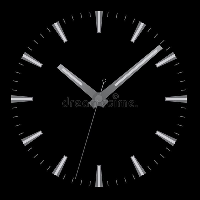 Realistyczna ilustracja zegarek twarz bez liczb z minutą, godziną i drugi ręką odizolowywającymi na czarnym tle, wektor ilustracja wektor