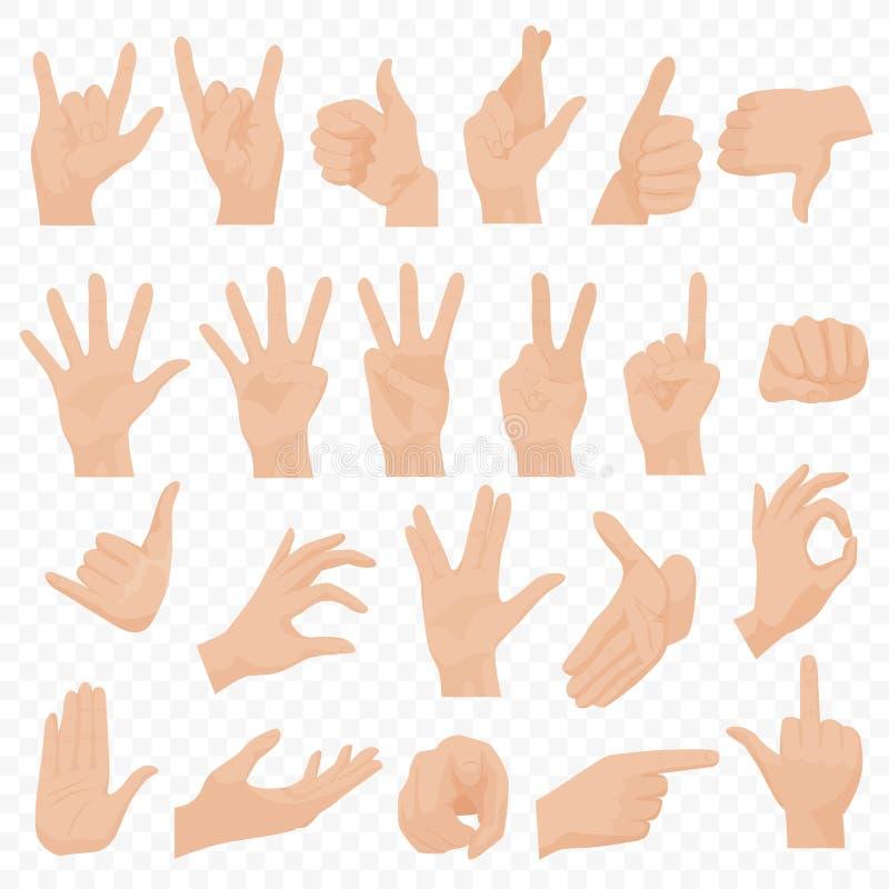 Realistyczna istota ludzka wręcza ikony i symbole ustawiających Emoji ręki ikony Różni gesty, ręki, sygnalizują emocje i podpisuj royalty ilustracja