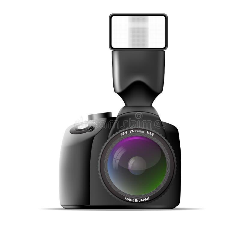 Realistyczna kamera z external błyskiem. Wektorowy illus ilustracja wektor