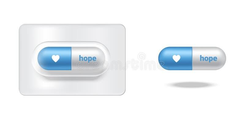 Realistyczna kapsuły lub pigułki medycyny nadzieja Z miłością odizolowywającą na białym tle ilustracji