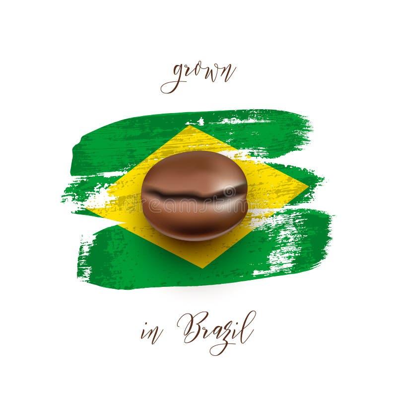 Realistyczna kawowa fasola na flaga Brazylia zrobił szczotkarscy uderzenia spokojnie redaguje projekt elementów wektora ilustracji