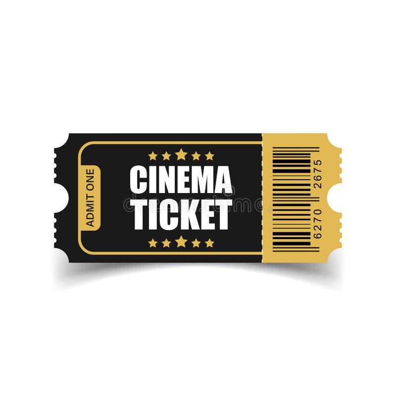 Realistyczna kinowa biletowa ikona w mieszkanie stylu Przyznaje jeden talonowy ent royalty ilustracja