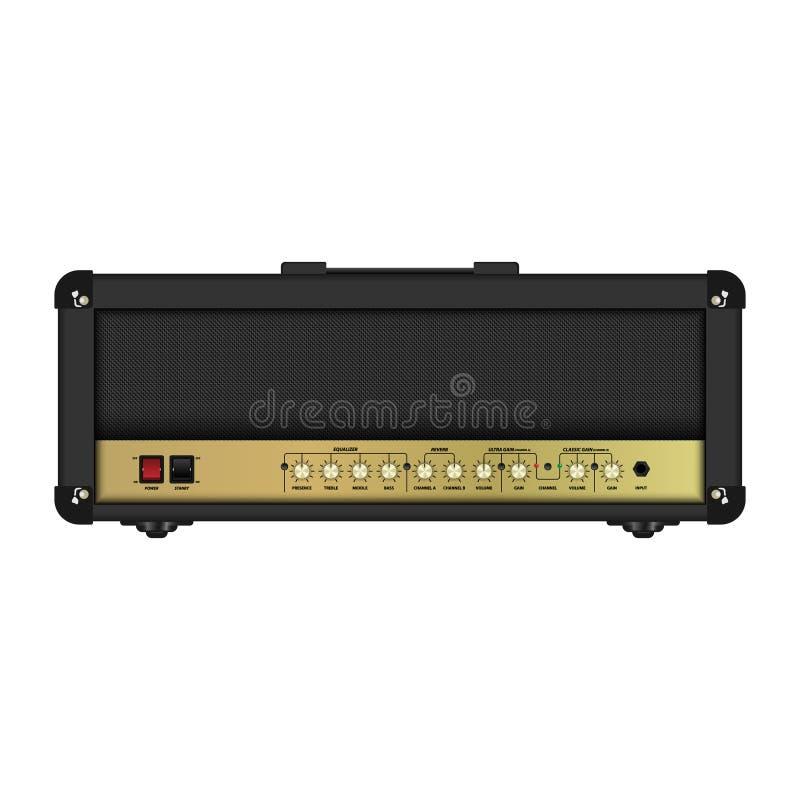 Realistyczna klasyczna gitara amplifikatoru głowa, wektorowa ilustracja ilustracja wektor