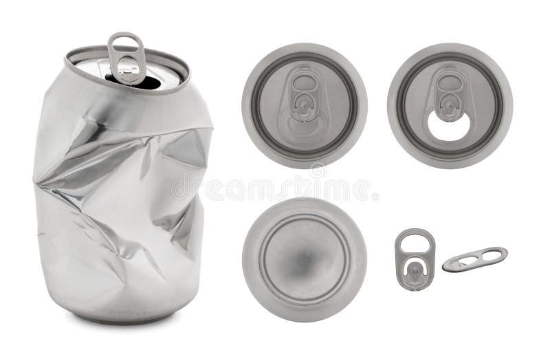 Realistyczna kolekcja Odizolowywająca na białym backgro aluminiowa puszka zdjęcie stock