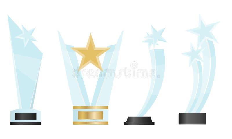 Realistyczna koncepcja trofeum szklanego z symbolami mistrza i przywództwa Nagroda Realistyczna: Blank Vector Acrylic Glass Troph royalty ilustracja