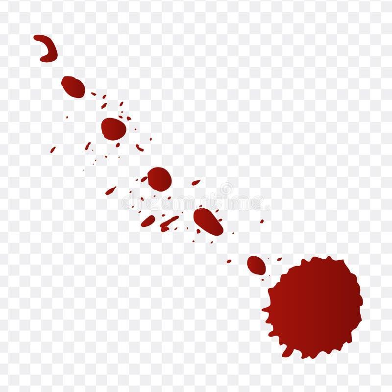 Realistyczna krew splatters i krew opuszcza set Pluśnięcie czerwieni atrament Ilustracja Odizolowywająca Na Przejrzystym tle royalty ilustracja