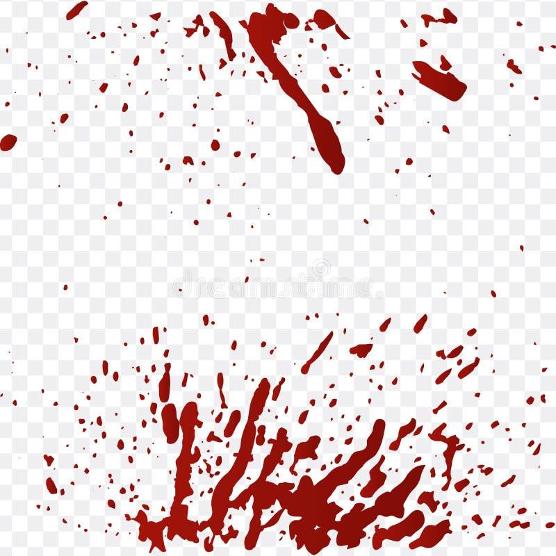 Realistyczna krew splatters i krew opuszcza set Pluśnięcie czerwieni atrament Ilustracja Odizolowywająca Na Przejrzystym tle ilustracja wektor