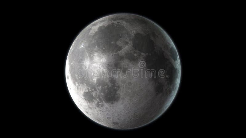 Realistyczna księżyc w kosmosie Wysokości szczegółowa tekstura 3 d czynią royalty ilustracja