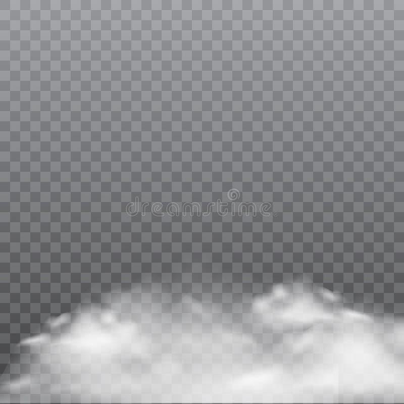Realistyczna mgła lub dym na przejrzystym tle wektor ilustracji