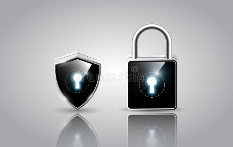 Realistyczna nowożytna kłódka i osłona, ochrony sieci ochrony pojęcie, wektorowa ilustracja ilustracja wektor