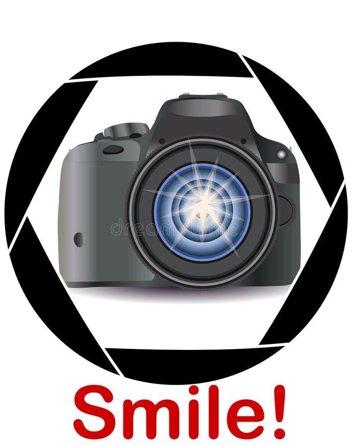 Realistyczna nowożytna kamera w ramie kamery blenda Pojęcie fotografia, powołania, fotografia biznes zdjęcia stock