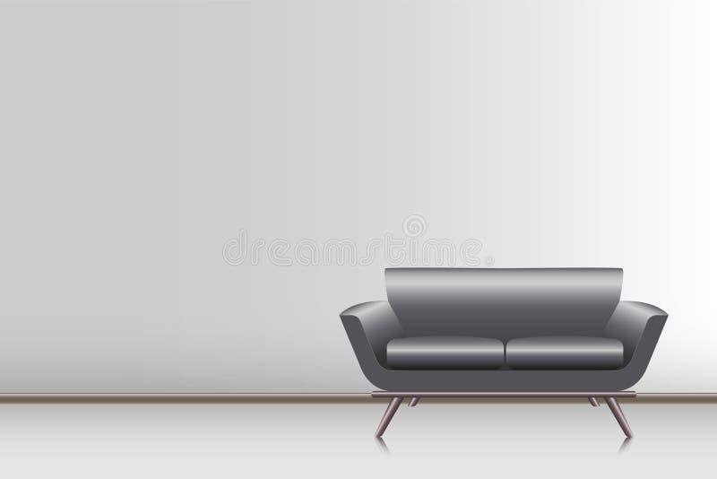 Realistyczna nowożytna leżanka w żywym pokoju , wektor ilustracja wektor