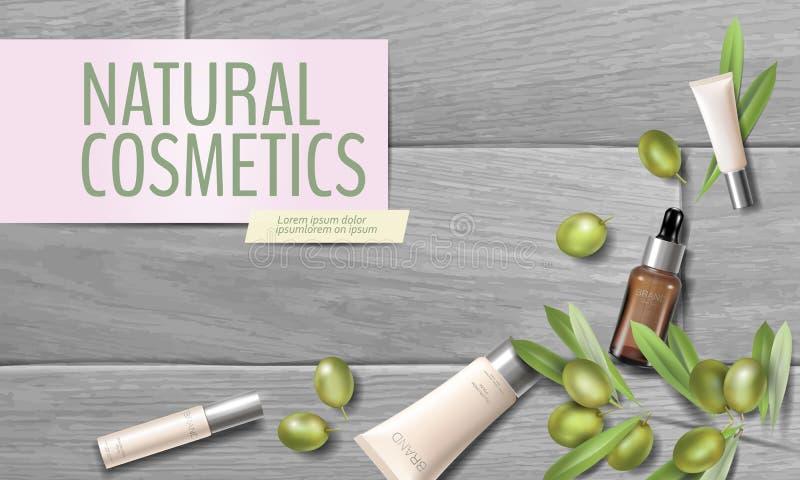 Realistyczna organicznie oliwa z oliwek kosmetyków reklama Naturalna esencji gospodarstwa rolnego roślina opuszcza zielonej oliwk ilustracja wektor