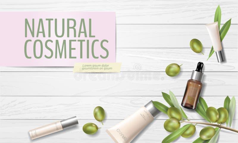 Realistyczna organicznie oliwa z oliwek kosmetyków reklama Naturalna esencji gospodarstwa rolnego rośliny liści zielonej oliwki o ilustracji