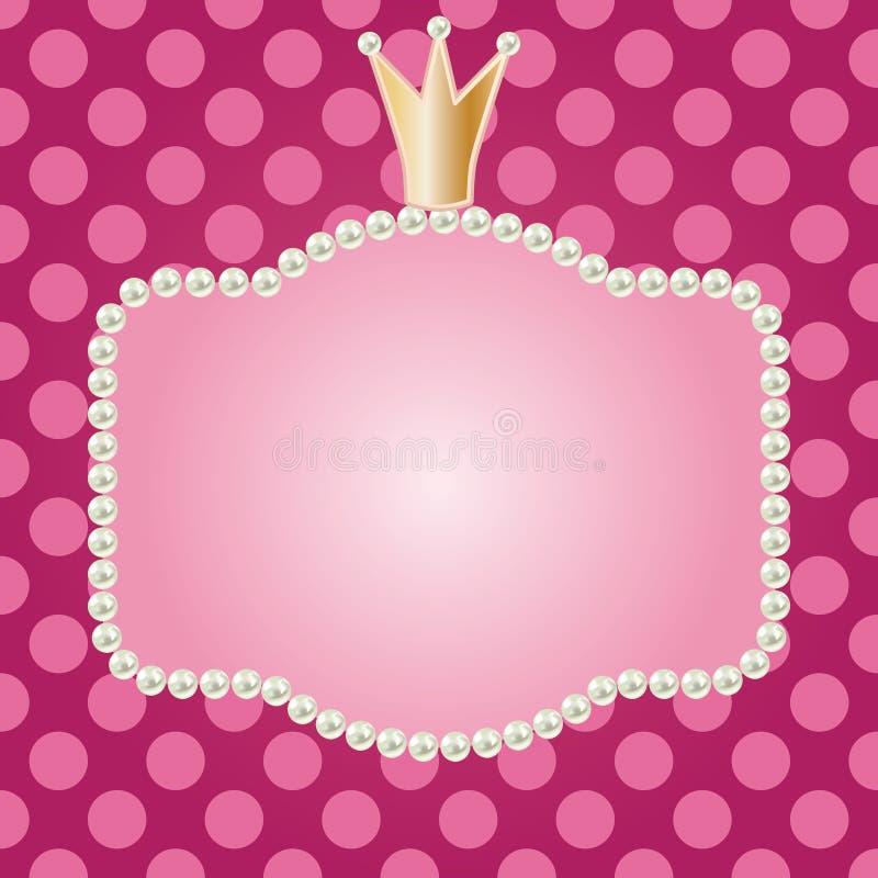 Realistyczna perły rama z koroną ilustracja wektor