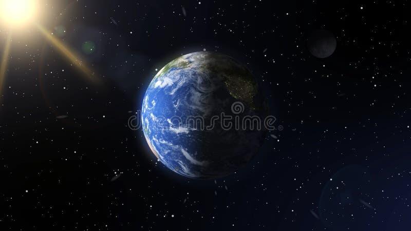 Realistyczna planety ziemia, księżyc w przestrzeni i Elementy ten wizerunek meblujący NASA ilustracja wektor