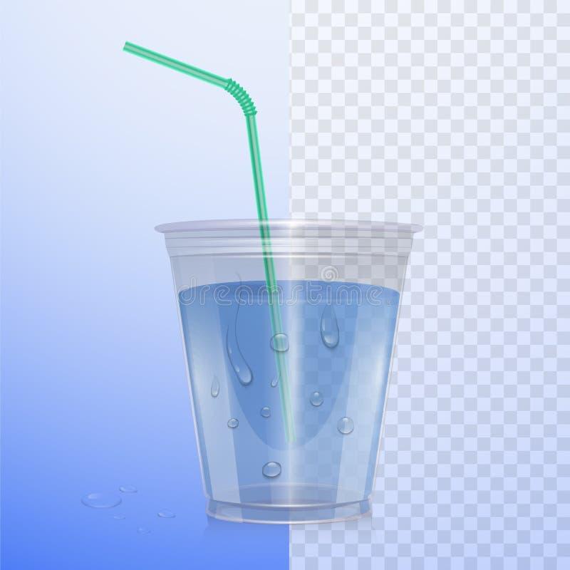 Realistyczna plastikowa filiżanka z czystą wodą Wektorowa ilustracja na przejrzystym tle ilustracja wektor