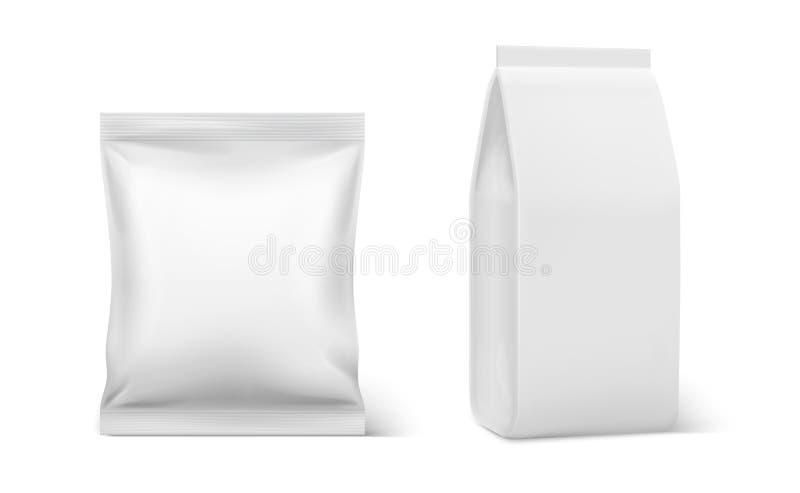 Realistyczna poduszki paczka Kawowy doy pusty mockup, plastikowy pusty karmowy pakować, doy kieszonki poduszki torby wektoru szab ilustracja wektor