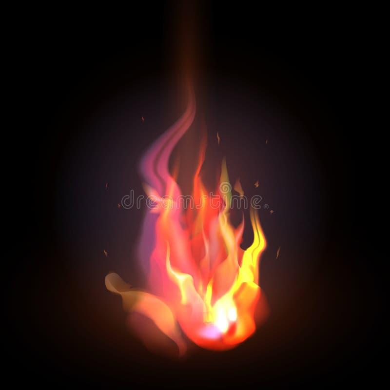 realistyczna pomarańcze i czerwony ogień płoniemy na zmroku ilustracji