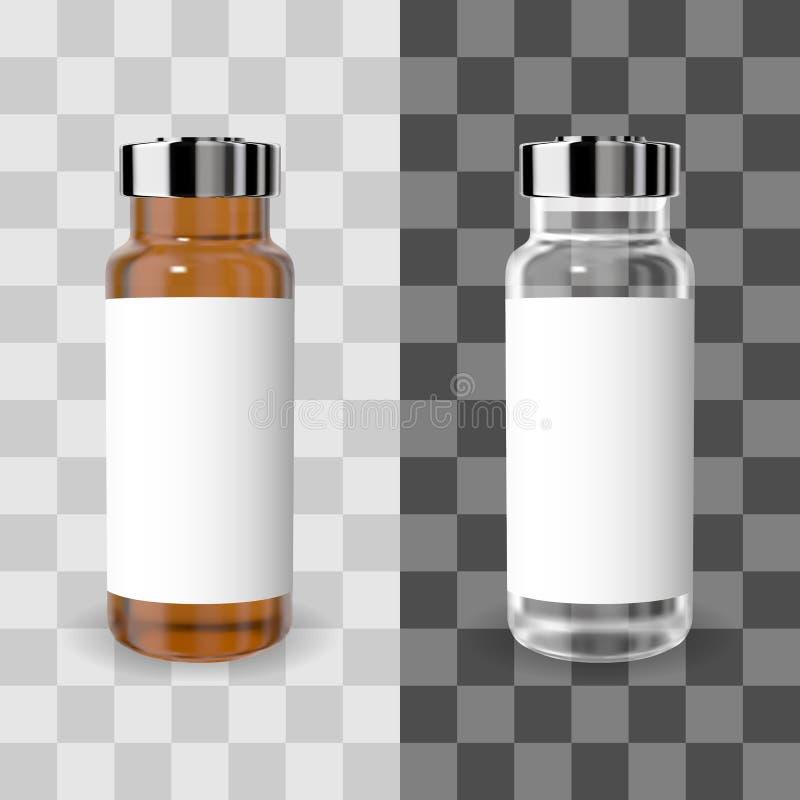 Realistyczna przejrzysta brązu i bielu medycyny buteleczka z etykietką Wektorowy mockup ilustracji