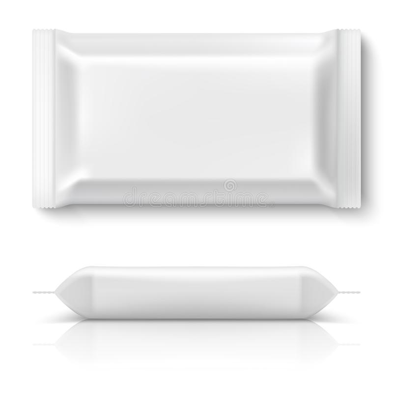 Realistyczna przepływ paczka Realistycznej białej karmowej pakunku ciastka poduszki folii pustej przekąski biskwitowi plastikowi  ilustracji