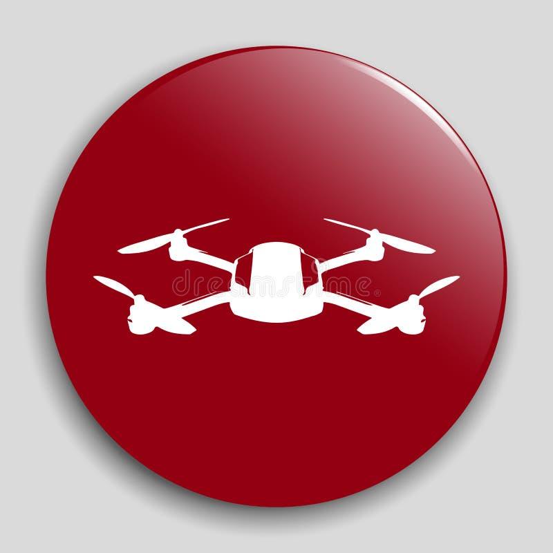 Realistyczna quadcopter odznaka Trutnia pojęcia ikona Czerwony sieć guzik również zwrócić corel ilustracji wektora royalty ilustracja